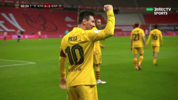 Los dos goles de Messi en la final ante Bilbao