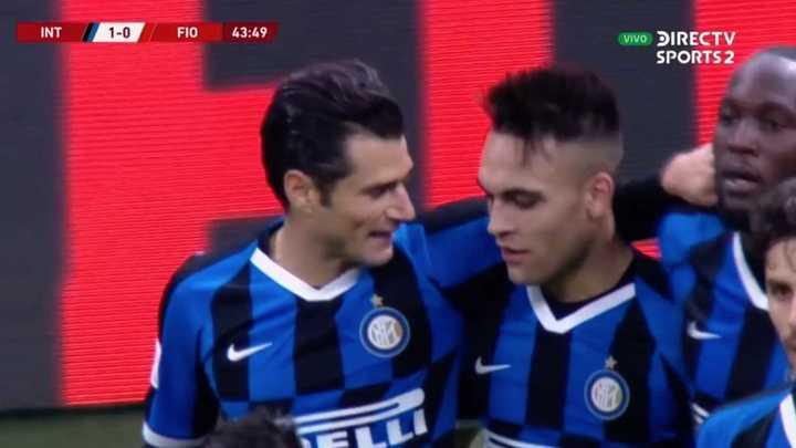 Lautaro no pudo y Candreva empujó el primero del Inter