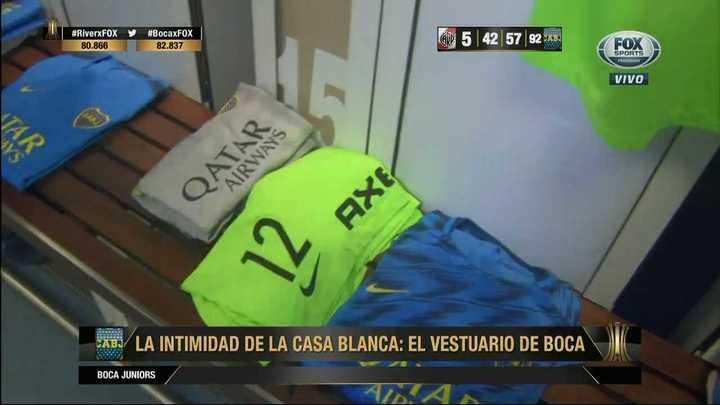 Así es el vestuario de Boca en el Bernabéu