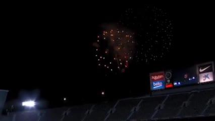 Fuegos artificiales afuera del Camp Nou