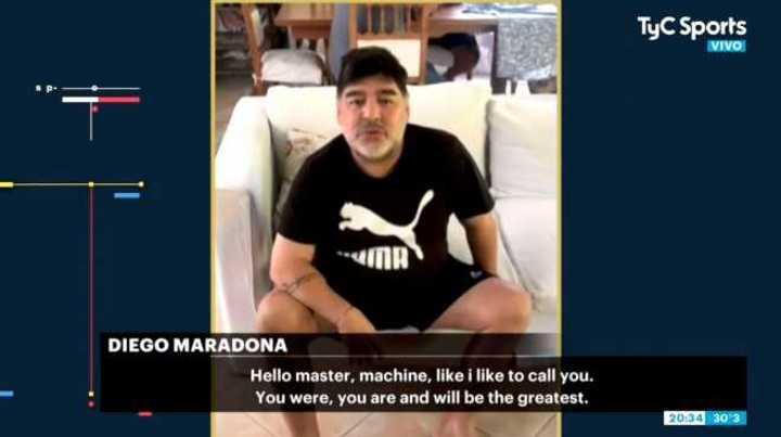 El mensaje de Maradona a Federer