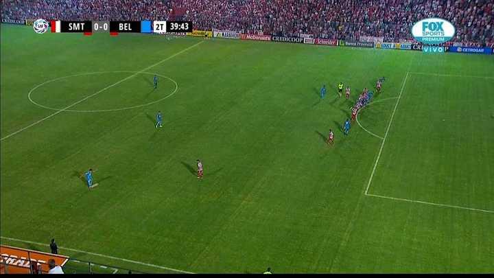 Le anularon un gol a Belgrano