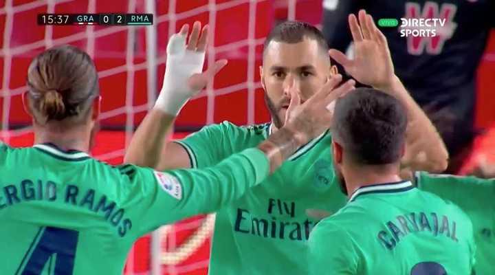 Benzema marcó el 2 a 0 para el Real Madrid