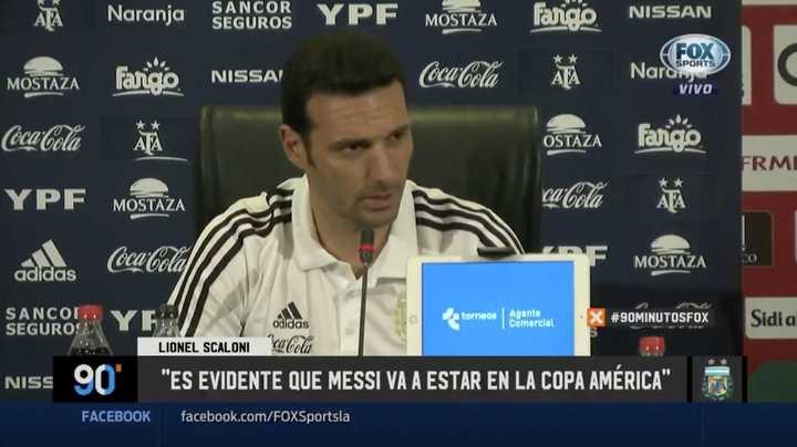 """""""Es evidente que Messi va a estar en la Copa América"""""""