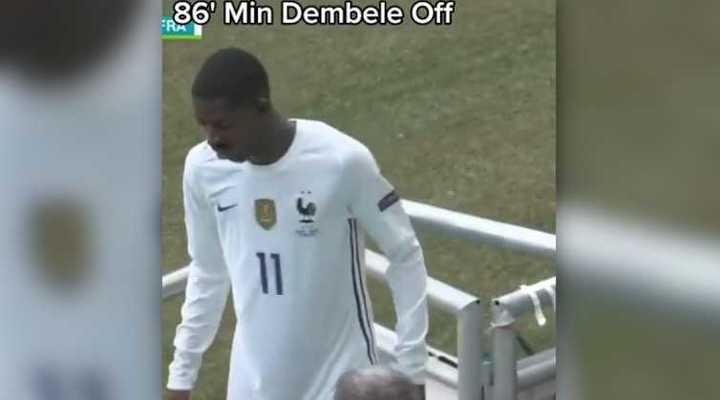 Dembélé entró en el segundo tiempo y se lesionó
