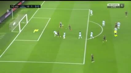 Ansu Fati abrió el marcador para el Barcelona frente al Celta