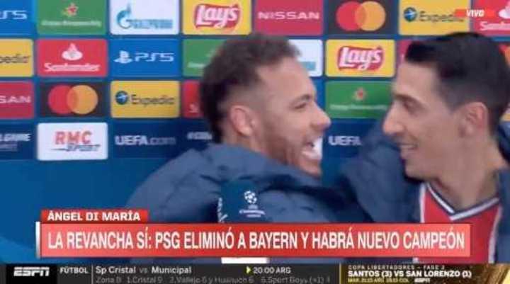 Neymar interrumpió la entrevista para felicitar a Di María