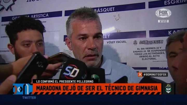 Pellegrino confirmó que Maradona dejó de ser el DT de Gimnasia