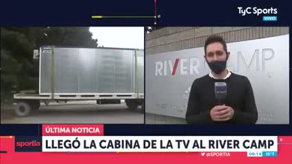 Llegó la cabina de TV al River Camp