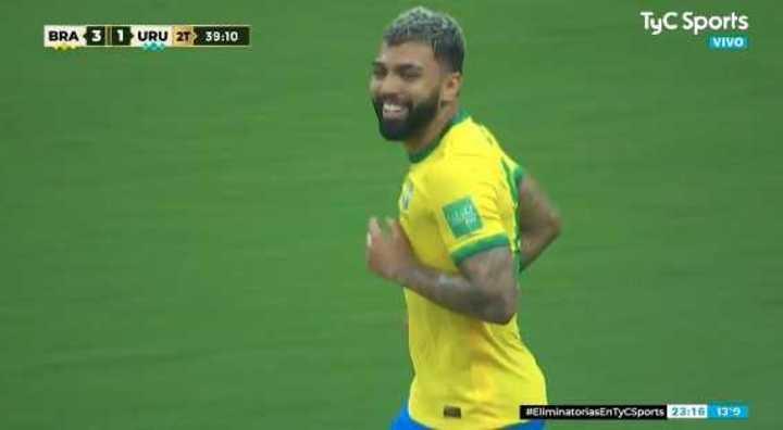Gabigol anotó el 4 a 1 de Brasil