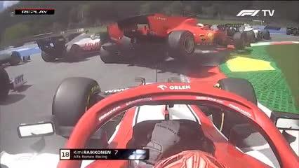 El golpe entre las Ferrari de Vettel y Leclerc