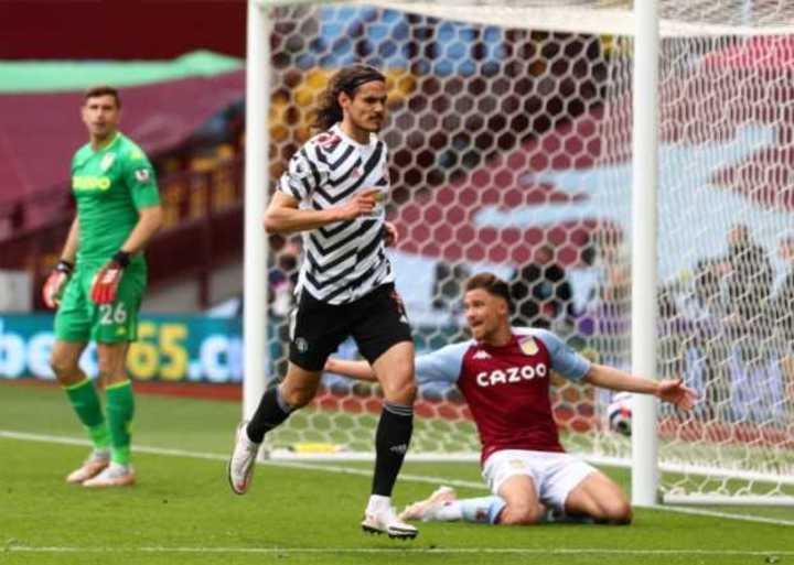 Cavani puso el 3-1 para Manchester United vs Aston Villa