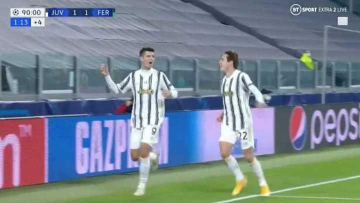 Morata marcó el 2 a 1 de la Juve