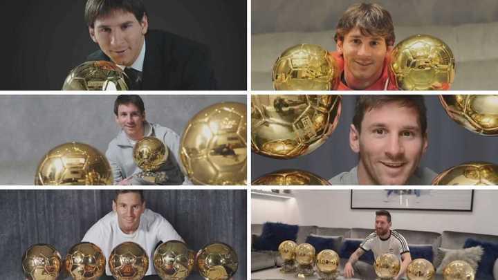 Los seis balones de Oro de Messi