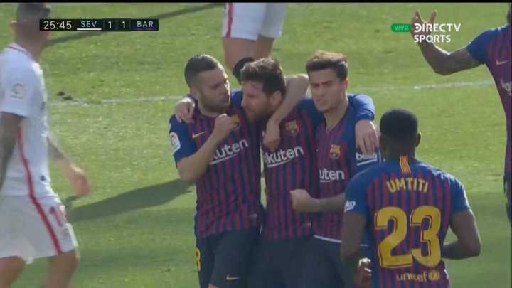 Golazo de Messi para empatar el partido