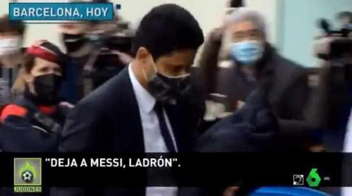 Hostil recibimiento al dueño del PSG en Barcelona