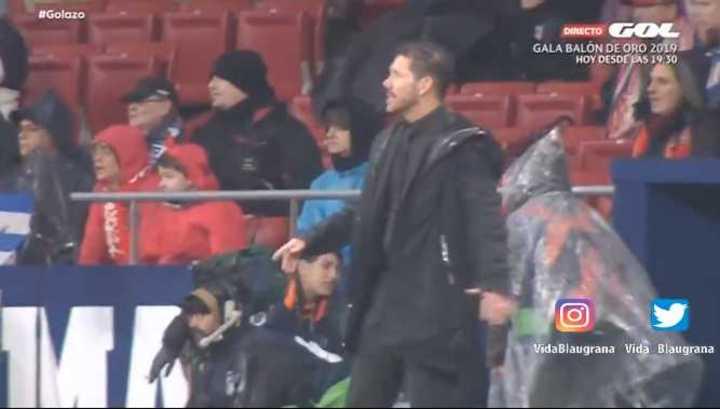 La reacción del Cholo en el gol de Messi