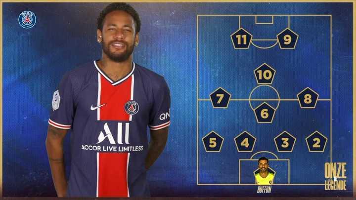 Neymar dio su 11 ideal de jugadores históricos del PSG