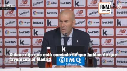 Zidane dijo que está cansado de que hablan de que favorecen al Madrid