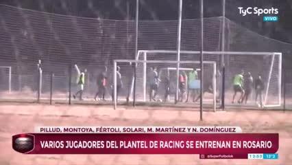 Jugadores de Racing se entrenan en Rosario