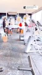 Agustin Obando entrenando junto a Daniela Angelici, su novia.