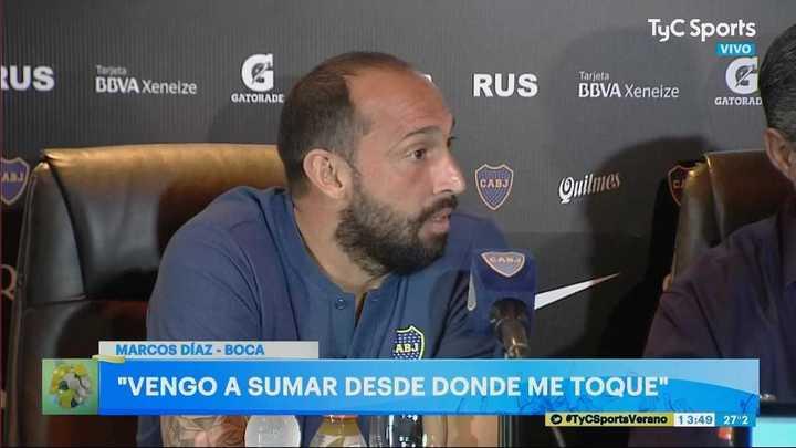 Marcos Díaz está ansioso por jugar en la Bombonera