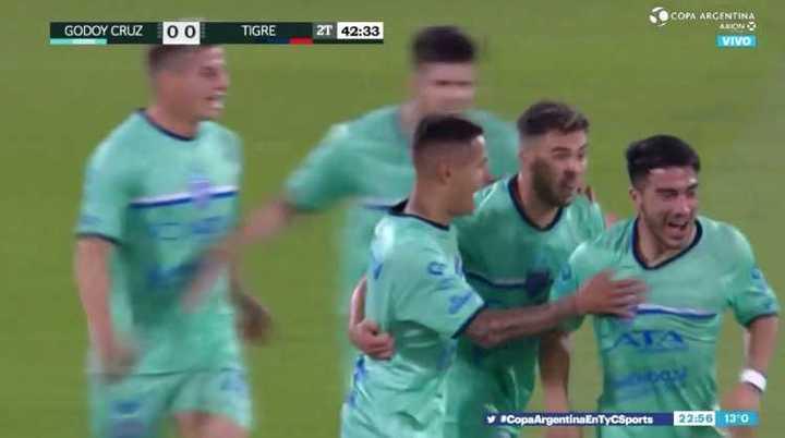 Godoy Cruz lo ganó sobre el final con un gol de tiro libre