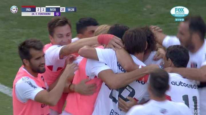 Gol de Fontanini para el 2 a 2