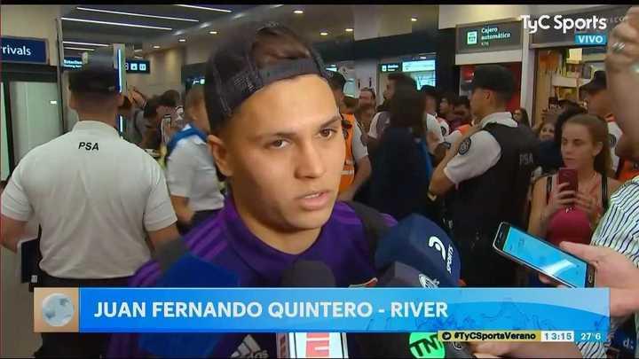 Juanfer Quintero habló en la llegada de River al país