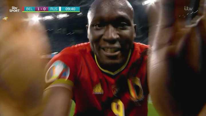 Lukaku marcó el primero de Bélgica con dedicatoria a Eriksen