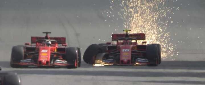 El toque entre Leclerc y Vettel en Brasil