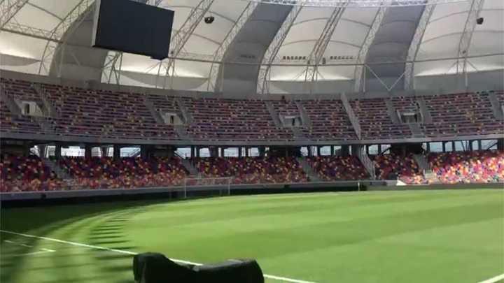 Así luce el campo de juego del Unico de Santiago