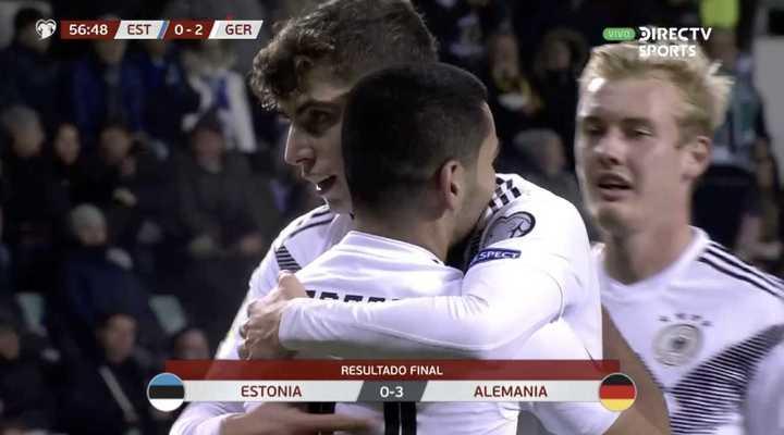 La victoria de Alemania 3 a 0 sobre Estonia