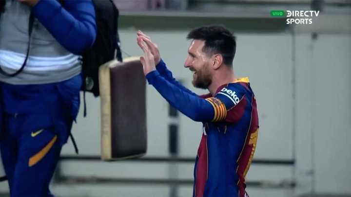 La alegría de Messi tras la victoria ante Sevilla