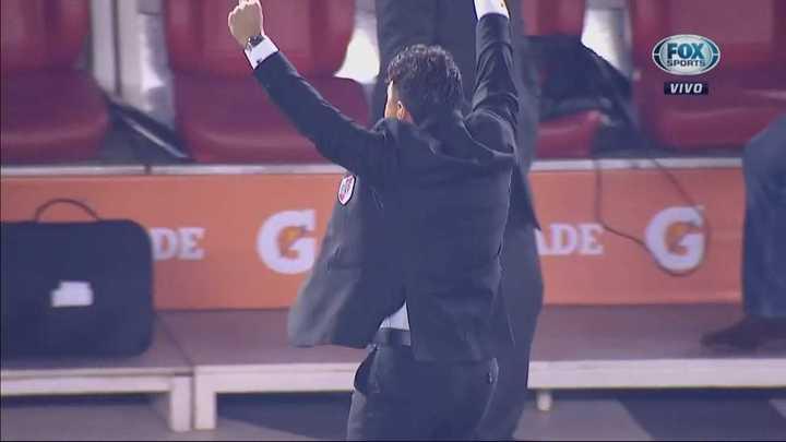 El festejo de Gallardo en el gol de River