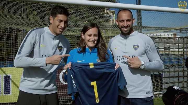 Esteban Andrada y Marcos Díaz invitaron a Elisabeth Minnig al entrenamiento