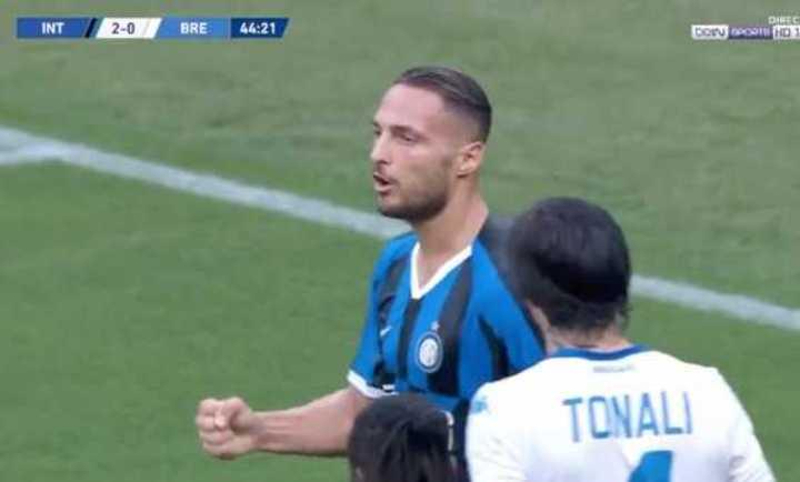 D´Ambrosio marcó el 3 a 0 de Inter sobre Brescia.