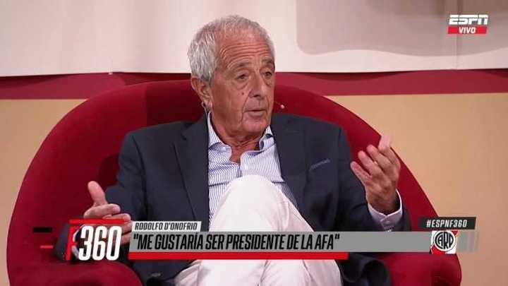 "Rodolfo D'Onofrio: ""Me gustaría ser presidente de la AFA"""