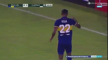 El gol de Villa y su posterior festejo