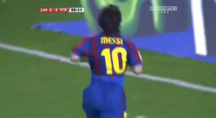 Golazo de Messi al Zaragoza en 2010.