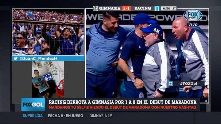 El festejo de Maradona tras el gol de Gimnasia