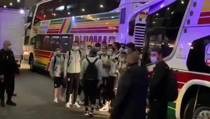 La llegada de la selección de Uruguay a Buenos Aires