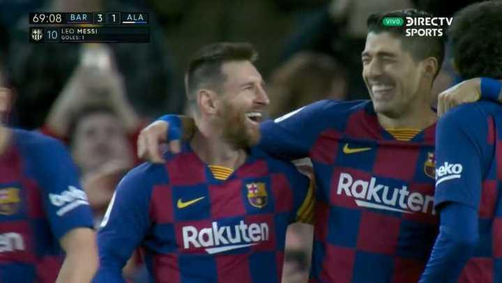 Golazo de Messi para el 3 a 1 de Barcelona