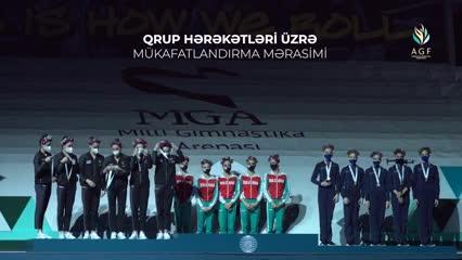 Premiación con drones en la Copa del Mundo de Gimnasia Rítmica.