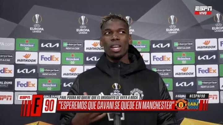 Pogba pidió que se quede Cavani en el Manchester United
