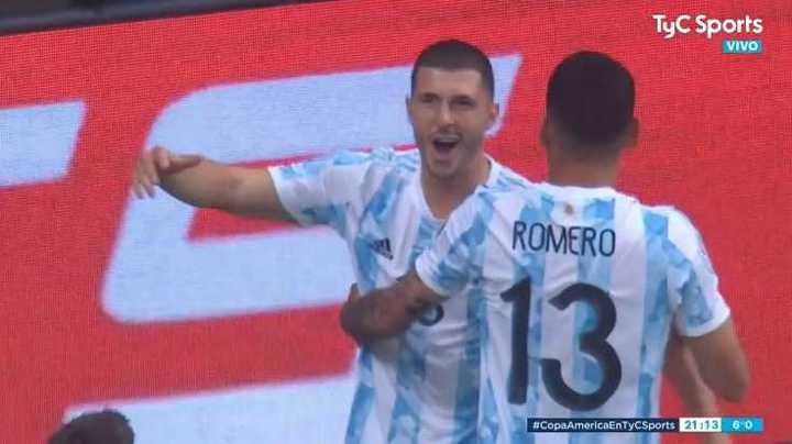 Rodríguez marcó el 1 a 0 de Argentina