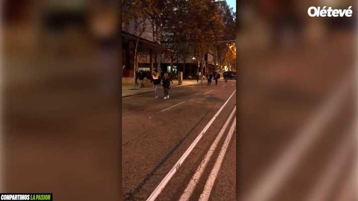 Seguridad donde pasarán los micros camino al Bernabéu