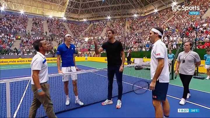 Del Potro participó del sorteo junto a Federer