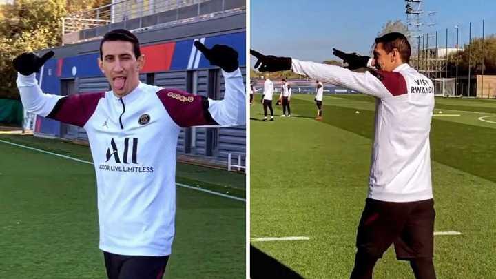 Ángel Di María en el entrenamiento de PSG
