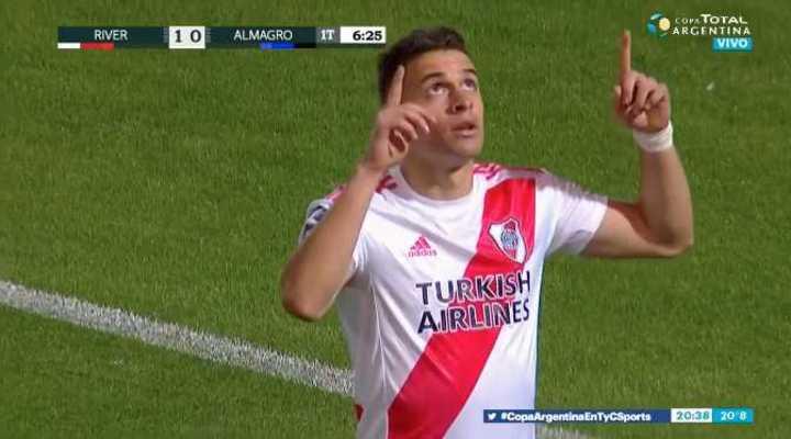 Borré marcó el primero de River frente a Almagro